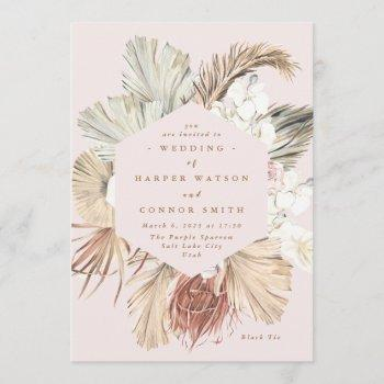 pink pampas dried grass floral tropical jungle invitation