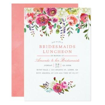 pink peach flowers bridesmaids luncheon invitation