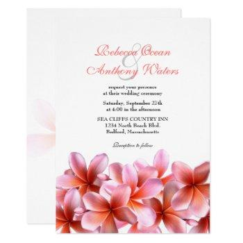 pink plumeria tropical beach wedding invitation