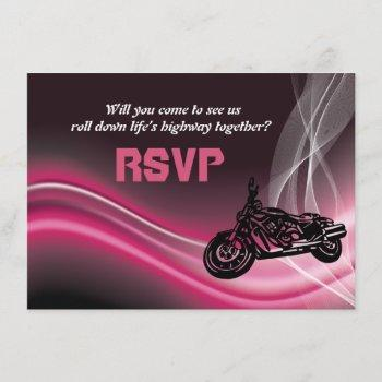 pink road biker wedding rsvp response card