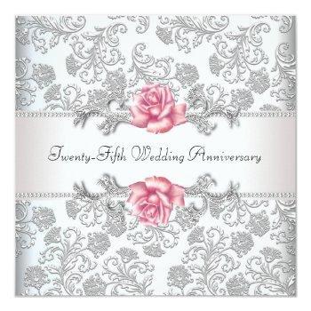 pink rose damask silver 25th wedding anniversary invitation