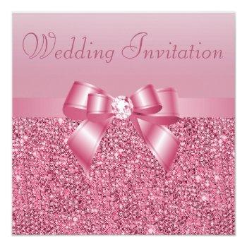 pink sequins, bow & diamond wedding invitation