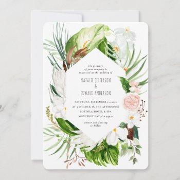 pink, teal + orchid tropical floral wedding invite
