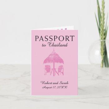 pink thailand wedding passport invitation