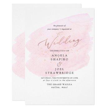 pink watercolor champagne bubbles elegant invitation