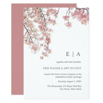 pink watercolor cherry blossom wedding invitation