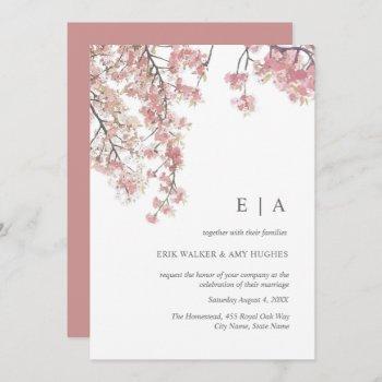 pink watercolor cherry blossom wedding invitation