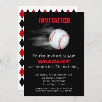 pitch the ball baseball team customized editable invitation