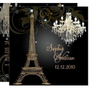 pixdezines la tour eiffel/paris/crystal chandelier invitation