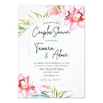 pixdezines orchid isle, tropical couples shower invitation