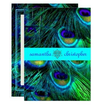 pixdezines peacock feather/aqua/turquoise invites