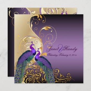 pixdezines peacocks/purple/gold/filigree/swilrs invitation