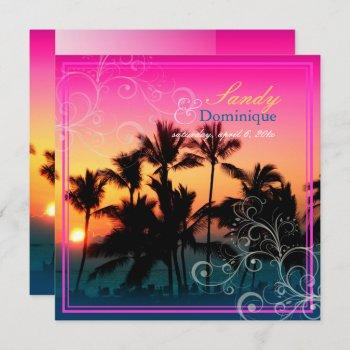 pixdezines sunset at a-bay/hawaii invitation