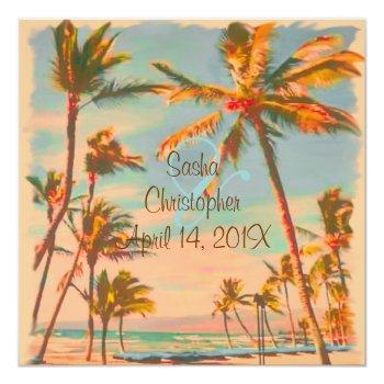 pixdezines vintage beach scence/aloha/luau invitation