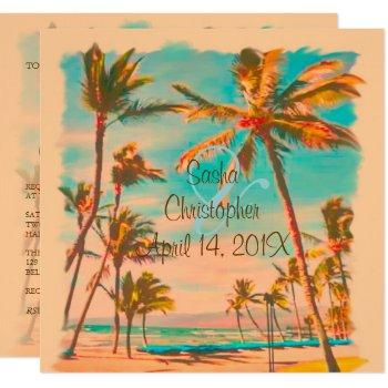 pixdezines vintage hawaiian beach/teal/diy bckgrnd invitation