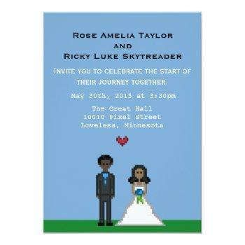 pixel gamer bride & groom wedding invite