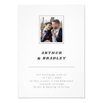 plain minimalist photo wedding invitation