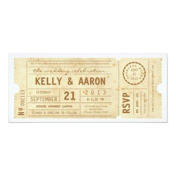 playbill vintage theater ticket wedding invitation