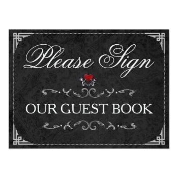 please sign our guestbook halloween skeletons sign invitation