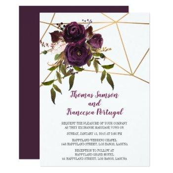plum floral faux gold geometric wedding invitation