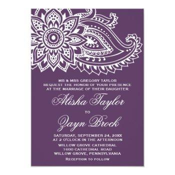 plum indian paisley formal wedding invitation