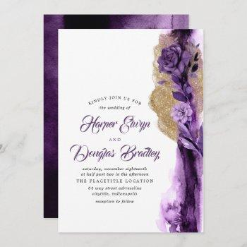 plum purple - eggplant and gold floral wedding invitation