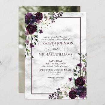 plum purple flower watercolor marble photo wedding invitation