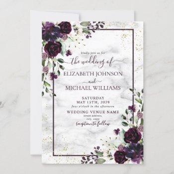 plum purple gold watercolor marble fall wedding invitation