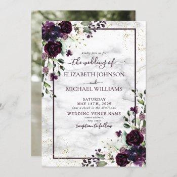 plum purple gold watercolor marble photo wedding invitation