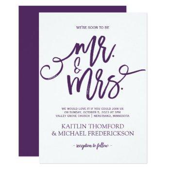 plum / purple wedding invitations | brush script