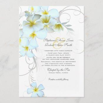 plumeria flourish custom wedding invitation