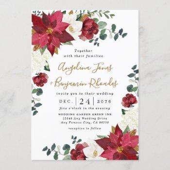 poinsettia elegant red gold white floral wedding invitation