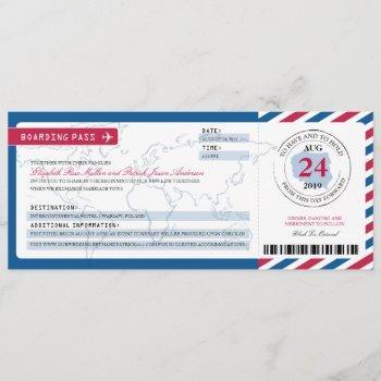 poland airmail boarding pass wedding invitation