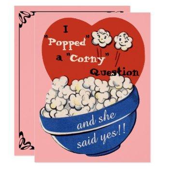 popcorn corny question, cute retro save the date invitation