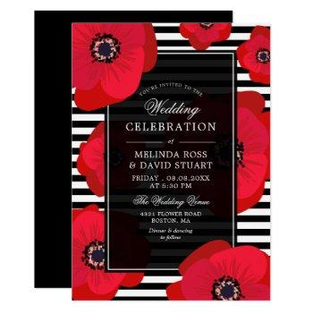 poppies & stripes - black & red wedding invitation
