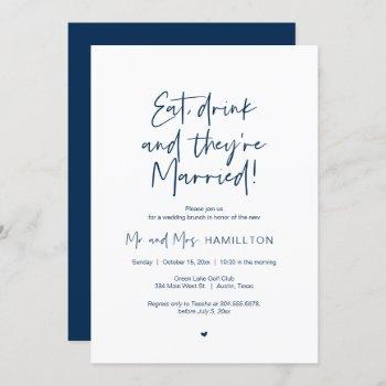 post wedding brunch, eat, drink and married invita invitation