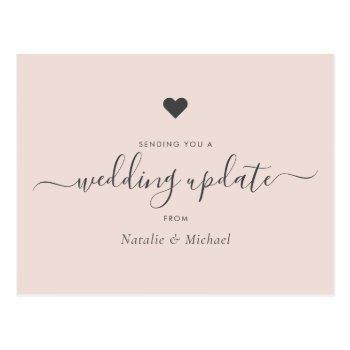 postpone wedding update elegant script blush pink postcard