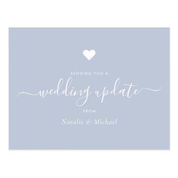 postpone wedding update elegant script dusty blue postcard