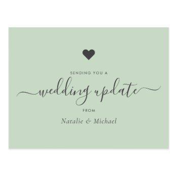 postpone wedding update elegant script greenery postcard