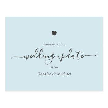 postpone wedding update elegant script light blue postcard