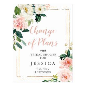 postponed bridal shower announcement postcard