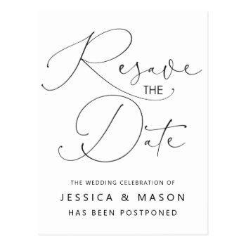 postponed wedding announcement postcard
