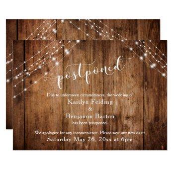 postponed wedding announcement rustic wood lights