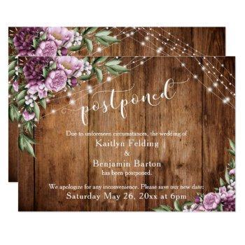 postponed wedding announcement wood lights flowers