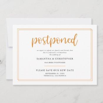 postponed wedding elegant orange handwritten announcement
