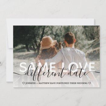 postponed wedding elegant typography announcement
