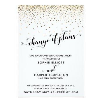 postponed wedding gold confetti change of plans invitation