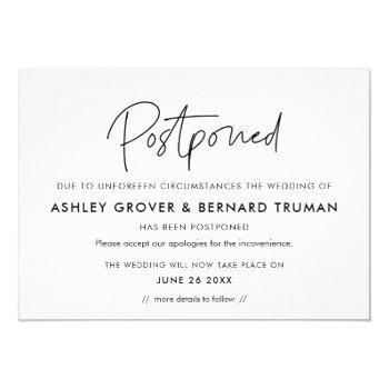 postponed wedding new date announcement card