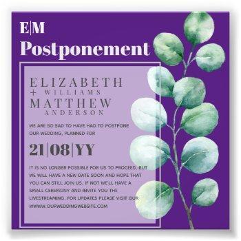 postponement eucalyptus greenery change of plans photo print