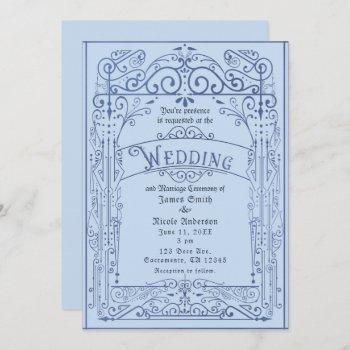 powder blue white vintage victorian deco wedding invitation